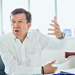 Gilles Pelisson, TF1's CEO, during a interview with a journalist from Le Monde. Boulogne-Billancourt, France. April 2, 2019.<br /> Gilles Pelisson, PDG de TF1, durant une interview avec un journaliste du Monde. Boulogne-Billancourt, France. 2 avril 2019.