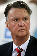 Louis van Gaal, the Manchester United Manager looks on from the bench .The Emirates FA cup, 6th round replay match, West Ham Utd v Manchester Utd at the Boleyn Ground, Upton Park  in London on Wednesday 13th April 2016.<br /> pic by John Patrick Fletcher, Andrew Orchard sports photography.