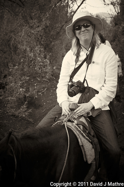 Jenny on her Horse on the Trail to the Volcano.  Pacaya Volcano National Park. Image taken with a Leica X1 (ISO 100, 24 mm, f/4.5, 1/200 sec). Raw image processed and converted to B&W with Capture One Pro and Photoshop CS5. .