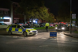 © Licensed to London News Pictures. 02/11/2020. Maidenhead, UK. A police vehicle forms a cordon on Moor Lane. A house has been 'petrol-bombed' on Moor Lane in Maidenhead, an altercation took place on the roadside before what is believed to be a petrol-bomb was throw at the house causing exterior damage. Photo credit: Peter Manning/LNP