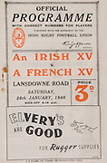 Irish Rugby Football Union, An Irish xv v A French xv, Landsdowne Road, Dublin, Ireland, Saturday 26th January, 1946,.26.1.1946, 1.26.1946,..Referee- Mr H G Lathwell, England, ..Score- Irish XV 3 - 4 French XV,..Irish Team, ..C Murphy, Wearing number 15 Irish jersey, Captain of the Irish team, Full Back, Landsdowne Rugby Football Club, Dublin, Ireland, ..F G Moran, Wearing number 14 Irish Jersey, Right Wing, Clontarf Rugby Football Club, Dublin, Ireland, ..H Greer, Wearing number 13 Irish Jersey, Right Centre, N.I.F.C, Rugby Football Club, Belfast, Northern Ireland, ..P Reid, Wearing number 12 Irish jersey, Left Centre, Garryowen Rugby Football Club, Limerick, Ireland, ..K O'Flanagan, Wearing number 11 Irish jersey, Left Wing, London Irish Rugby Football Club, Surrey, England, ..J W Kyle, Wearing number 10 Irish jersey, Stand Off, Queens University Rugby Football Club, Belfast, Northern Ireland,..D Thorpe, Wearing number 9 Irish jersey, Scrum, Old Belvedere Rugby Football Club, Dublin, Ireland, ..J Belton, Wearing number 8 Irish jersey, Forward, Old Belvedere Rugby Football Club, Dublin, Ireland, ...C Mullen, Wearing number 7 Irish Jersey, Forward, Old Belvedere Rugby Football Club, Dublin, Ireland, ..M R Neely, Wearing number 6 Irish jersey, Forward, Royal Navy Rugby Football Club, Portsmouth, England,..C Callan, Wearing number 5 Irish jersey, Forward, Landsdowne Rugby Football Club, Dublin, Ireland, ..H Dolan, Wearing number 4 Irish jersey, Forward, University College Dublin Rugby Football Club, Dublin, Ireland, ..J Guiney, Wearing  Number 3 Irish jersey, Forward, Bective Rangers Rugby Football Club, Dublin, Ireland,  ..D B O'Loughlin, Wearing number 2 Irish jersey, Forward, Dolphin Rugby Football Club, Cork, Ireland, ..D McCourt, Wearing number 1 Irish jersey, Forward, Instonians Rugby Football Club, Belfast, Northern Ireland, ..French Team, ..A Alvarez, Wearing number 15 French jersey, Full Back, R.C.F Rugby Football Club, France, ..E Pebeyre, Wearing number 11