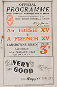 Rugby 1946-26/01 Rugby Union Irish XV Vs French XV
