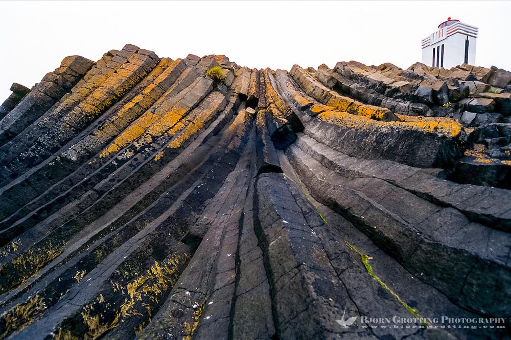 Iceland, Kálfshamarsvík is a small cove in the northern part of Skagi. Columnar basalt formations.