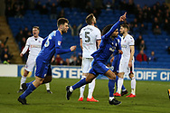 Armand Traore of Cardiff city celebrates after he scores his teams 1st goal. EFL Skybet championship match, Cardiff city v Bolton Wanderers at the Cardiff city Stadium in Cardiff, South Wales on Tuesday 13th February 2018.<br /> pic by Andrew Orchard, Andrew Orchard sports photography.