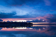Yellowstone Lake at dusk in August in Yellowstone National Park, Wyoming.