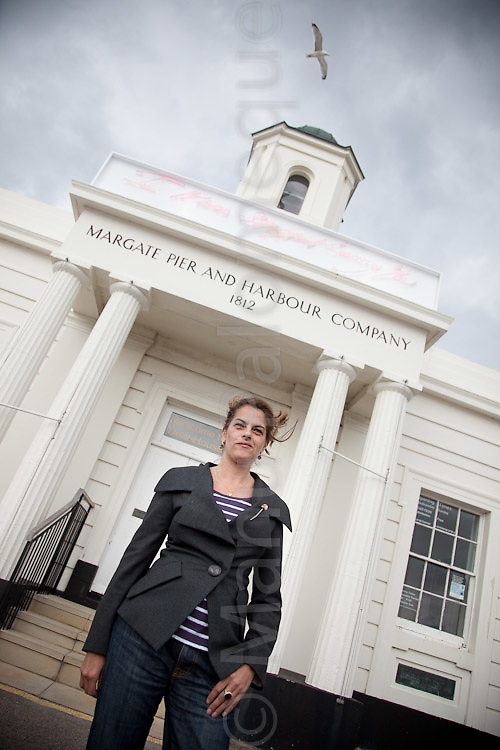 """© London News Pictures. 30/04/2010. Launch of """"I Never Stopped Loving You"""" neon artwork mounted at the entrance to Droit House, Margate, Kent. Commissioned by Turner Contemporary. Tracy Emin is due to open the new £17m gallery Turner Contemporary on the 16th April 2011."""