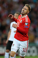 Aaron Ramsey of Wales reacts after missing an early chance to score. Wales v Austria , FIFA World Cup qualifier , European group D match at the Cardiff city Stadium in Cardiff , South Wales on Saturday 2nd September 2017. pic by Andrew Orchard, Andrew Orchard sports photography