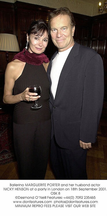 Ballerina MARGUERITE PORTER and her husband actor NICKY HENSON at a party in London on 18th September 2001.	OSK 8