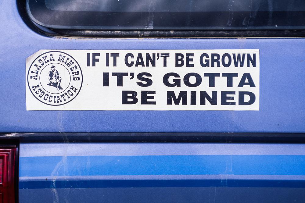 Defiant bumper sticker on vehicle parked near the Bering Land Bridge National Preserve, Alaska, USA