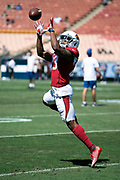 Arizona Cardinals defensive back Bene' Benwikere (23) leaps in the air as he catches a pass during pregame warmups before the 2018 NFL regular season week 2 football game against the Los Angeles Rams on Sunday, Sept. 16, 2018 in Los Angeles. The Rams won the game in a 34-0 shutout. (©Paul Anthony Spinelli)