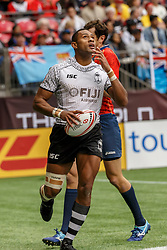 March 10, 2018 - Vancouver, British Columbia, U.S. - VANCOUVER, BC - MARCH 10: Uluiyata Batinisavu (#6) of Fiji scores between the posts during Game # 4- Fiji vs Spain Pool C match at the Canada Sevens held March 10-11, 2018 in BC Place Stadium in Vancouver, BC. (Photo by Allan Hamilton/Icon Sportswire) (Credit Image: © Allan Hamilton/Icon SMI via ZUMA Press)