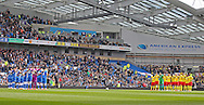 Minutes silence and Tribute to the Bradford fire on the 30th anniversary during the Sky Bet Championship match between Brighton and Hove Albion and Watford at the American Express Community Stadium, Brighton and Hove, England on 25 April 2015. Photo by Phil Duncan.