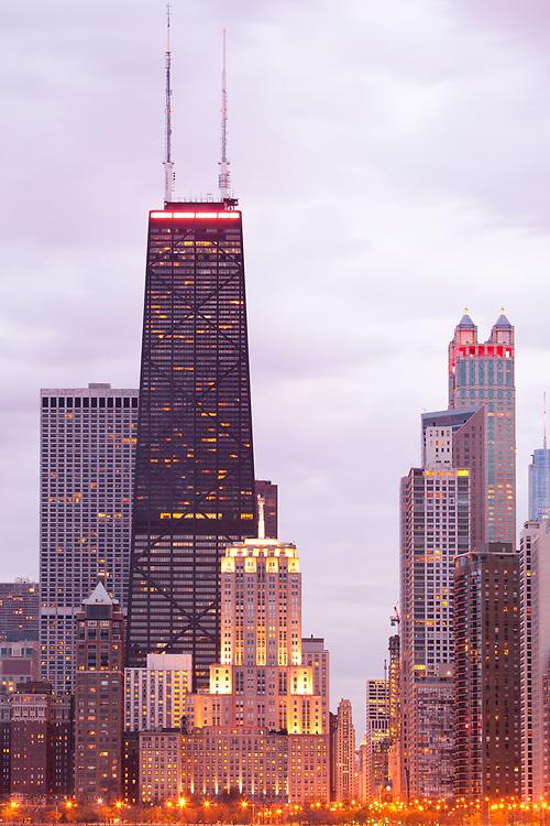 Skyline of downtown Chicago at dusk, Illinois, United States