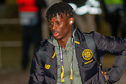 Vakoun Issouf Bayo of Celtic FC steps off the team bus and heads up the steps into Parkhead ahead of the Europa League match between Celtic and FC Copenhagen at Celtic Park, Glasgow, Scotland on 27 February 2020.