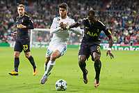 Real Madrid Marco Asensio and Tottenham Serge Aurier during UEFA Champions League match between Real Madrid and Tottenham at Santiago Bernabeu in Madrid, Spain October 17, 2017. (ALTERPHOTOS/Borja B.Hojas)