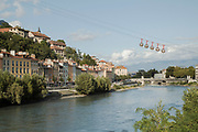 Grenoble-Bastille cable car over river in Grenoble, France