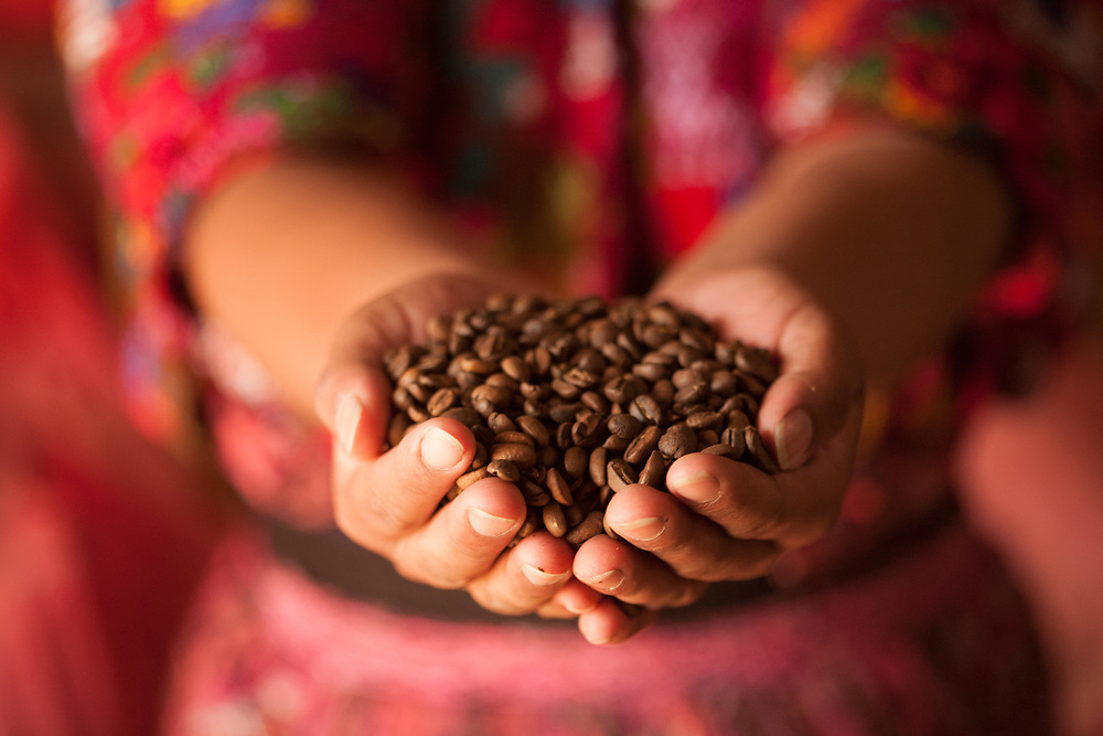 Handfuls of freshly roasted coffee beans are held by an indigenous woman in Guatemala.