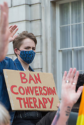 London, UK. 23rd June, 2021. Campaigners against LGBT+ conversion therapy attend a picket outside the Cabinet Office and Government Equalities Office. Represented by veteran LGBT+ and human rights activist Peter Tatchell, Revd Colin Coward and Jayne Ozanne of the Ban Conversion Therapy Coalition, they also handed in a petition signed by 7,500 people calling on the government to fulfil its 2018 promise to ban LGBT+ conversion therapy.