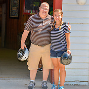 Father And Daughter After Riding Horses At Cindy's Riding Stable On Mackinac Island
