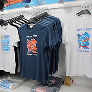 London 2012 Olympic games merchandise on sale at Olympic Park, Stratford, UK. 13th July 2012. Photo Tim Clayton