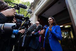 © Licensed to London News Pictures. 24/09/2019. London, UK. Anti-Brexit campaigner and businesswoman Gina Miller speaks to media after leaving studios in Westminster, following a historic ruling by the Supreme Court this morning that Boris Johnson's decision to suspend Parliament for five weeks was unlawful. Photo credit : Tom Nicholson/LNP