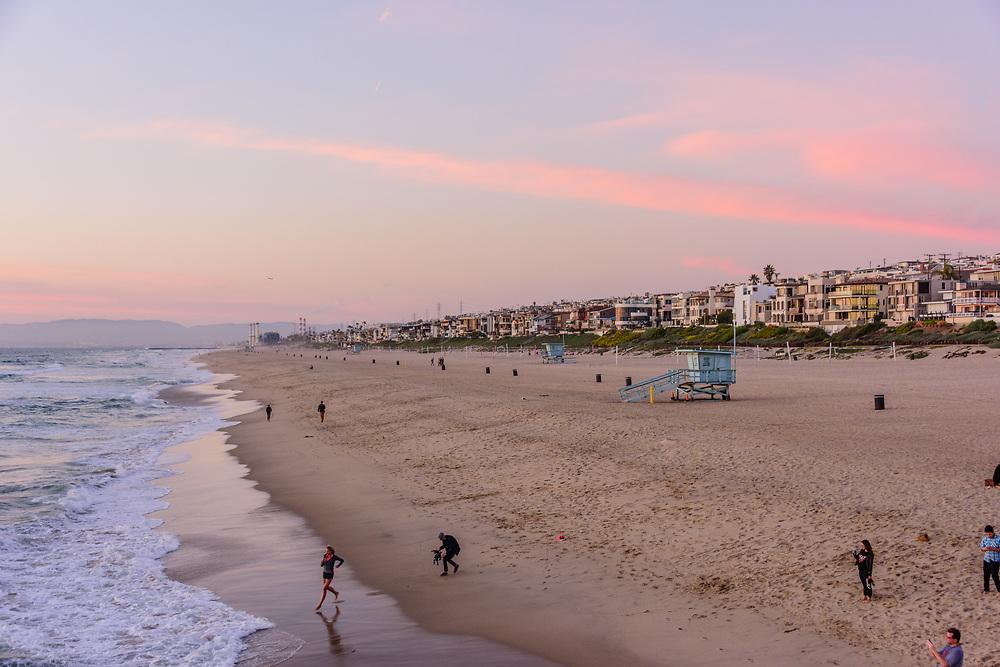 Sunset, Palm Trees, Manhattan Beach, an affluent coastal city in Los Angeles County, California