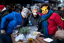 © Licensed to London News Pictures. 16/04/2021. London, UK. Members of the public wear animal masks as they enjoy food and drink in Soho in Central London. Earlier this week Lockdown restrictions were eased to allow non essential retail and outdoor dining to reopen. Photo credit: George Cracknell Wright/LNP