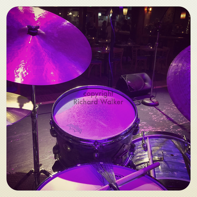 2018 FEBRUARY 02 - House drum set on stage at Royal Room in Columbia City, Seattle, WA, USA. Taken/edited with Instagram App for iPhone. By Richard Walker
