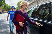 Pro remain campaigner Steve Bray  interviews Andrea Leadsom MP, Secretary of State for Business, Energy and Industrial Strategy as she leaves the Cabinet office in Whitehall, London, United Kingdom on 19th August 2019.