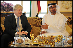 The London Mayor Boris Johnson has a meeting with HH Sheikh Mohammed bin Zayed bin Sultan Al Nahyan, Crown Prince of Abu Dhabi. The Mayor is on a 2 day tour of the UAE, Monday April 15, 2013. Photo By Andrew Parsons / i-Images