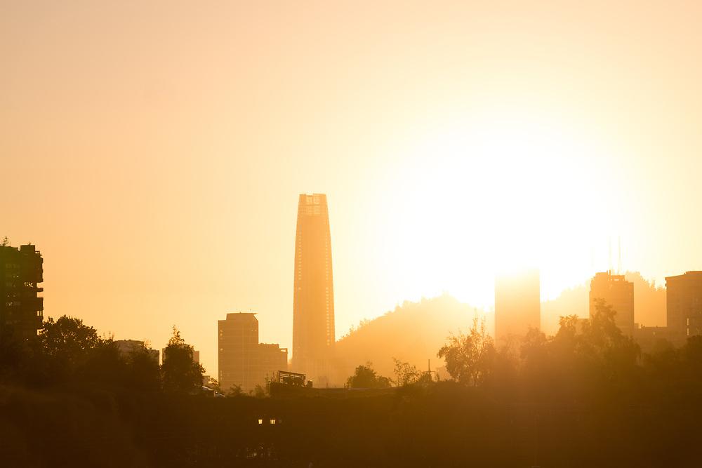 Skyline of buildings in Las Condes district from Parque Araucano, Santiago de Chile