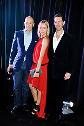 Left to right, DYLAN JONES and MARLON & NADYA ABELA at a party to celebrate the launch of the new 2&8 club at Morton's Berkeley Square, London on 27th September 2012.