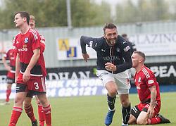 Falkirk's Lee Miller cele scoring their second goal. Falkirk 2 v 0 Ayr, Scottish Championship game played 24/9/2016 at The Falkirk Stadium .