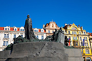 Jan Hus Monument in the Prague Old Town Square. He was burnt at the stake as a heretic and the people in the whole Czech Kingdom were outraged by his death and they started a rebellion called Hussite Wars, a Protestant movement against the Roman Catholic Church