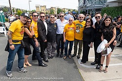 Left to right, Francesco Scipioni (Italy), Christine Le Pera, Scott Berg, Max Ness, Fillipo Ferretti (Italy), Cory Ness, Leonardo D'Aniello (Italy), Roberto Ambrosetti (Italy), Beverly Ness, Zach Ness and Alessandra Filosa (Italy) at the Arlen Ness Memorial - Celebration of Life at the Arlen Ness Motorcycles store. Dublin, CA, USA. Saturday, April 27, 2019. Photography ©2019 Michael Lichter.