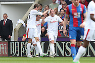 Charlie Adam of Stoke City ©  celebrates  after scoring his sides 1st goal with Peter Crouch of Stoke City (l). Barclays Premier League match, Crystal Palace v Stoke City at Selhurst Park in London on Saturday 7th May 2016. pic by John Patrick Fletcher, Andrew Orchard sports photography.