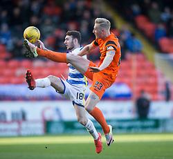 Morton's Jamie McDonagh and Dundee United's Nick Van Der Velden. Dundee United 1 v 1 Morton, Scottish Championship game played 25/2/2017 at Tannadice Park.