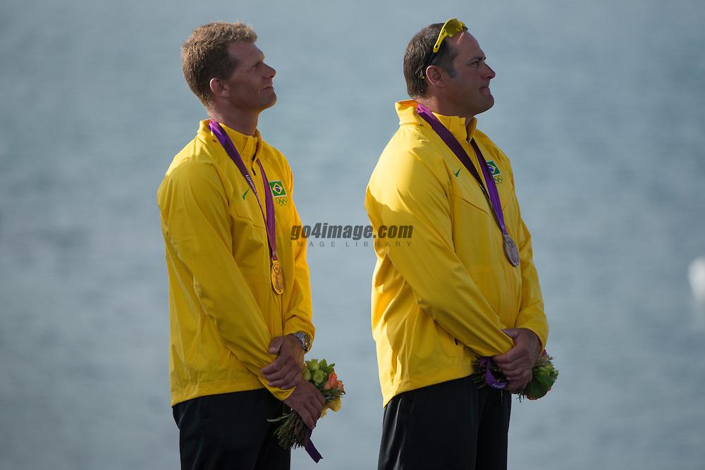 2012 Olympic Games London / Weymouth<br /> Medal Ceremony<br /> Scheidt Robert, Prada Bruno, (BRA, Star)