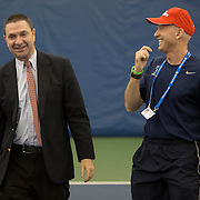 August 19, 2014, New Haven, CT:<br /> An Emirates Airline representative and the Yale Tennis Coach participate in the Emirates Airline tennis clinic on day five of the 2014 Connecticut Open at the Yale University Tennis Center in New Haven, Connecticut Tuesday, August 19, 2014.<br /> (Photo by Billie Weiss/Connecticut Open)