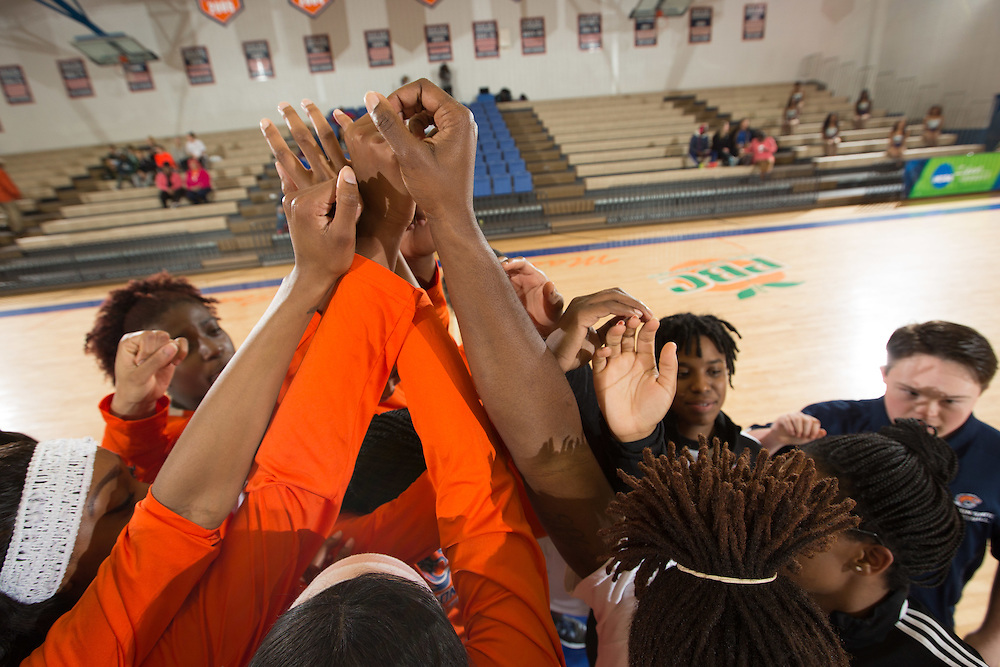 Dec. 3, 2014; Morrow, GA, USA; CSU team huddle in action against Fort Valley State at CSU. Clayton State won 87-73. Photo by Kevin Liles / kevindliles.com