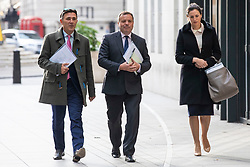© Licensed to London News Pictures. 04/11/2018. London, UK. Co-founder of the Leave.EU campaign Arron Banks (centre) and Andy Wigmore (L) arrive at BBC Broadcasting House to appear on The Andrew Marr Show. Photo credit: Rob Pinney/LNP