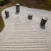 Tofukuji Temple eastern garden - Seven cylindrical stones are arranged in a field so as to represent main stars of the Great Bear of the heaven. These stones were originally foundation stones used at the other place in the temple.