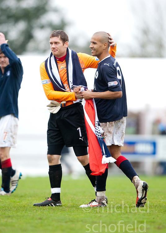 Falkirk's Michael McGovern and Farid El Alagui..Annan Athletic 0 v 3 Falkirk. Semi Final of the Ramsdens Cup, 9/10/2011..Pic © Michael Schofield.
