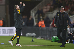 January 26, 2019 - Middlesbrough, North Yorkshire, United Kingdom - MIDDLESBROUGH, UK. 25 JANUARY. Newport manager Mike Flynn celebrates the equaliser during the FA Cup match between Middlesbrough and Newport County at the Riverside Stadium, Middlesbrough on Saturday 26th January 2019. (Credit Image: © Mi News/NurPhoto via ZUMA Press)