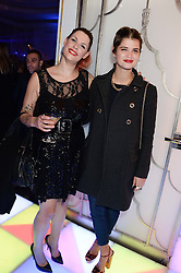Left to right, sisters FIFI TRIXIBELLE GELDOF and PIXIE GELDOF at a party to celebrate 25 years of John Frieda held at Claridge's, Brook Street, London on 29th October 2013.