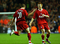 Fotball<br /> UEFA Cup 2003/2004<br /> 15.10.2003<br /> Liverpool v Ljubliana<br /> Foto: Digitalsport<br /> Norway Only<br /> <br /> ANTONY LE TALLEC LIVERPOOL CELEBRATES SCORING 1ST GOAL WITH JOHN ARNE RIISE