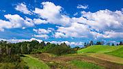 Rolling farmland along the Mrežnica River, Croatia