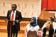 "14 April 2012-Santa Barbara, CA: ""Global"", Dr. James Makinde -Baba's newest friend.  Babatunde Folayemi Memorial Service at First United Methodist Church, 305 East Anapamu Street, Santa Barbara, CA. Family and friends gathered immediately following the service for refreshments and sharing in the Fellowship Hall of the church.Artist, Youth advocate, community leader, and former Santa Barbara City Council Member Babatunde Folayemi passed away on Wednesday, March 28, peacefully at home. He was 71, and is survived by his wife Akivah Northern, Cinque Folayemi Northern his son, several nieces and nephews, as well as grand-nieces and grand-nephews. He is also survived by his wifes Aunt Bea (Vivian Scarbrough), who is 105 years old. Photo by Rod Rolle"