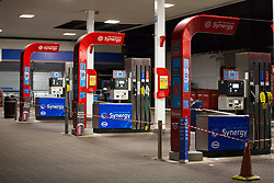 © Licensed to London News Pictures.  30/09/2021. London, UK. Closed gas station in Brixton, south London as the seventh day of the fuel crisis continues, amid fears of petrol running out due to a shortage of HGV drivers.  Photo credit: Marcin Nowak/LNP