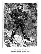 """The Colossus of Oaths. """"I shan't go any further - I was only stretching my legs."""" (Benito Mussolini stands as the statue of the Greek God Helios, Romanised Sol, one jackboot on Italy 'Status' and one on Albania 'Quo' after his invasion of Albania)"""